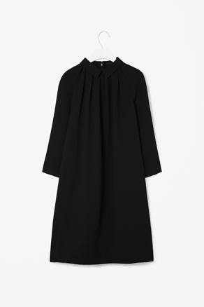 Gathered Detail Dress - style: smock; pattern: plain; predominant colour: black; occasions: casual, evening, work; length: just above the knee; fit: soft a-line; fibres: polyester/polyamide - 100%; neckline: no opening/shirt collar/peter pan; sleeve length: 3/4 length; sleeve style: standard; trends: glamorous day shifts; pattern type: fabric; pattern size: standard; texture group: other - light to midweight; season: a/w 2012