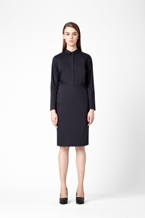 Slim Fit Shirt Dress - style: shirt; neckline: shirt collar/peter pan/zip with opening; pattern: plain; waist detail: fitted waist; hip detail: fitted at hip; predominant colour: navy; occasions: casual, evening, work; length: on the knee; fit: straight cut; fibres: cotton - mix; sleeve length: long sleeve; sleeve style: standard; texture group: cotton feel fabrics; trends: glamorous day shifts; pattern type: fabric; pattern size: standard; season: a/w 2012