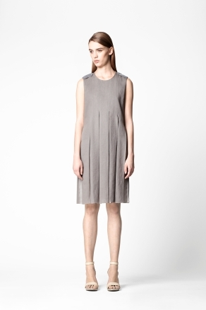 Dress With Sheer Pleats - style: shift; neckline: round neck; pattern: plain; sleeve style: sleeveless; predominant colour: mid grey; occasions: casual; length: on the knee; fit: straight cut; fibres: linen - mix; hip detail: structured pleats at hip; shoulder detail: discreet epaulette; sleeve length: sleeveless; pattern type: fabric; texture group: other - light to midweight; season: a/w 2012