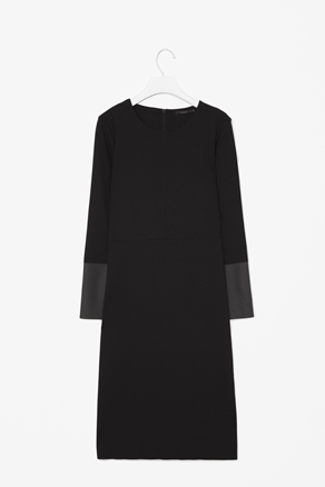 Contrast Cuff Dress - style: shift; neckline: round neck; pattern: plain, colourblock; predominant colour: black; occasions: casual, evening, work, occasion; length: on the knee; fit: straight cut; fibres: polyester/polyamide - stretch; sleeve length: long sleeve; sleeve style: standard; texture group: crepes; pattern type: fabric; pattern size: standard; season: a/w 2012