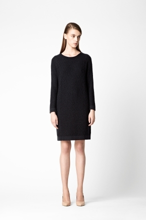 Oversized Knit Dress - style: jumper dress; neckline: round neck; pattern: plain, patterned/print; predominant colour: black; occasions: casual, evening, work; length: just above the knee; fit: straight cut; fibres: wool - mix; sleeve length: long sleeve; sleeve style: standard; texture group: knits/crochet; pattern type: knitted - other; pattern size: light/subtle; season: a/w 2012