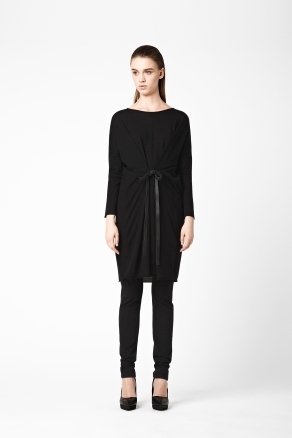 Wool Dress With Belt - style: jumper dress; neckline: slash/boat neckline; pattern: plain; predominant colour: black; occasions: casual, evening; length: just above the knee; fit: straight cut; fibres: wool - mix; sleeve length: long sleeve; sleeve style: standard; texture group: knits/crochet; pattern type: knitted - fine stitch; season: a/w 2012