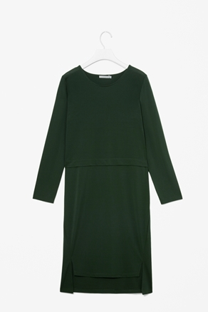 Panel Detail Dress - style: shift; neckline: round neck; pattern: plain; predominant colour: dark green; occasions: casual, evening, work; length: just above the knee; fit: straight cut; fibres: polyester/polyamide - mix; back detail: longer hem at back than at front; sleeve length: long sleeve; sleeve style: standard; texture group: crepes; pattern type: fabric; pattern size: standard; season: a/w 2012
