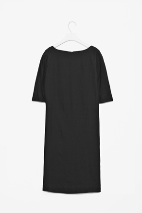 Classic Boat Neck Dress - style: shift; neckline: slash/boat neckline; pattern: plain; predominant colour: black; occasions: casual, evening, work; length: just above the knee; fit: straight cut; fibres: cotton - mix; sleeve length: half sleeve; sleeve style: standard; texture group: crepes; pattern type: fabric; pattern size: standard; season: a/w 2012