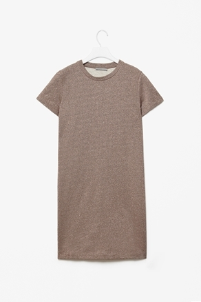 Metallic Jersey Dress - style: t-shirt; sleeve style: capped; pattern: plain; predominant colour: taupe; occasions: casual; length: just above the knee; fit: straight cut; fibres: cotton - mix; neckline: crew; sleeve length: short sleeve; pattern type: fabric; texture group: jersey - stretchy/drapey; season: a/w 2012