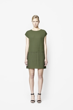 Layered Pleat Dress - style: shift; length: mid thigh; neckline: round neck; sleeve style: capped; pattern: plain; predominant colour: khaki; occasions: casual, evening; fit: straight cut; fibres: polyester/polyamide - 100%; sleeve length: short sleeve; texture group: sheer fabrics/chiffon/organza etc.; pattern type: fabric; season: a/w 2012