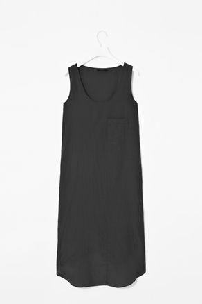 Silk And Cotton Dress - style: tunic; neckline: round neck; fit: loose; pattern: plain; sleeve style: sleeveless; predominant colour: black; occasions: casual, evening; length: just above the knee; fibres: silk - mix; sleeve length: sleeveless; texture group: crepes; pattern type: fabric; season: a/w 2012