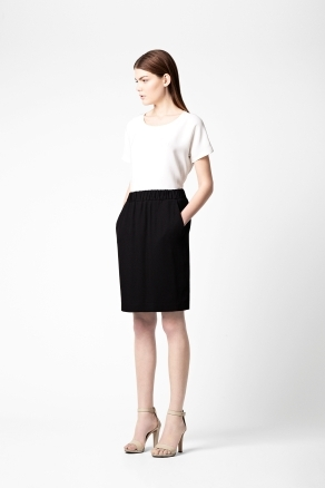 Elastic Waist Skirt - pattern: plain; style: straight; waist: high rise; predominant colour: black; occasions: casual, evening, work; length: just above the knee; fibres: polyester/polyamide - 100%; fit: straight cut; pattern type: fabric; texture group: other - light to midweight; season: a/w 2012; wardrobe: basic