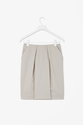 Overlapped Pleat Skirt - pattern: plain; style: straight; fit: tailored/fitted; hip detail: side pockets at hip, structured pleats at hip, sculpting darts/pleats/seams at hip; waist: mid/regular rise; predominant colour: stone; occasions: casual, evening, work; length: just above the knee; fibres: viscose/rayon - stretch; texture group: crepes; pattern type: fabric; season: a/w 2012; pattern size: standard (bottom)