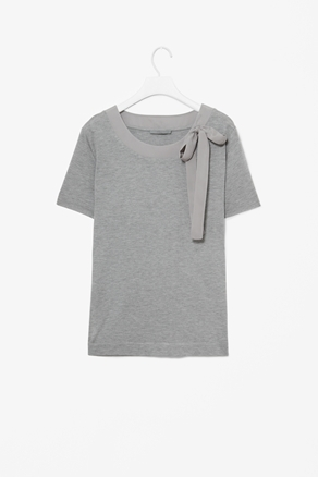 Bow Detail T Shirt - neckline: round neck; pattern: plain; style: t-shirt; predominant colour: light grey; occasions: casual, work; length: standard; fibres: polyester/polyamide - 100%; fit: straight cut; shoulder detail: added shoulder detail; sleeve length: short sleeve; sleeve style: standard; pattern type: fabric; pattern size: standard; texture group: jersey - stretchy/drapey; season: a/w 2012