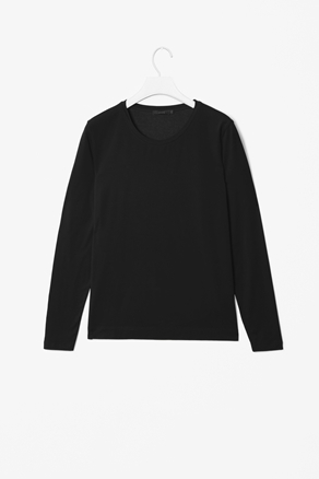 Casual Long Sleeve Top - neckline: round neck; pattern: plain; style: t-shirt; predominant colour: black; occasions: casual, work; length: standard; fibres: cotton - mix; fit: straight cut; sleeve length: long sleeve; sleeve style: standard; pattern type: fabric; pattern size: standard; texture group: jersey - stretchy/drapey; season: a/w 2012