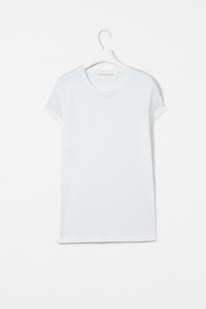 Capped Sleeve T Shirt - neckline: round neck; sleeve style: capped; pattern: plain; style: t-shirt; predominant colour: white; occasions: casual, work; length: standard; fibres: cotton - mix; fit: straight cut; sleeve length: short sleeve; pattern type: fabric; pattern size: standard; texture group: jersey - stretchy/drapey; season: a/w 2012