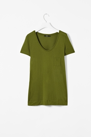 T Shirt With Pocket - neckline: low v-neck; sleeve style: capped; pattern: plain; style: t-shirt; bust detail: pocket detail at bust; predominant colour: khaki; occasions: casual; length: standard; fibres: polyester/polyamide - 100%; fit: straight cut; sleeve length: short sleeve; pattern type: fabric; texture group: jersey - stretchy/drapey; season: a/w 2012
