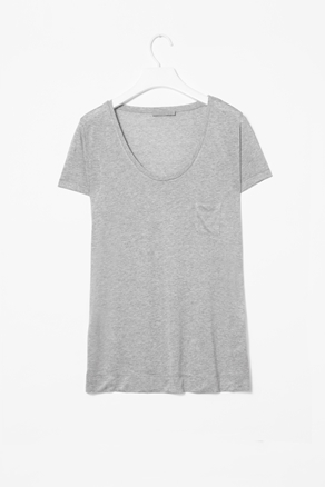 T Shirt With Pocket - neckline: low v-neck; pattern: plain; style: t-shirt; predominant colour: light grey; occasions: casual; length: standard; fibres: polyester/polyamide - 100%; fit: straight cut; sleeve length: short sleeve; sleeve style: standard; pattern type: fabric; texture group: jersey - stretchy/drapey; season: a/w 2012