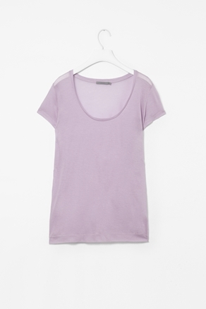 Sheer Jersey T Shirt - sleeve style: capped; pattern: plain; style: t-shirt; shoulder detail: contrast pattern/fabric at shoulder; predominant colour: lilac; occasions: casual; length: standard; neckline: scoop; fibres: polyester/polyamide - 100%; fit: loose; sleeve length: short sleeve; pattern type: fabric; texture group: jersey - stretchy/drapey; season: a/w 2012