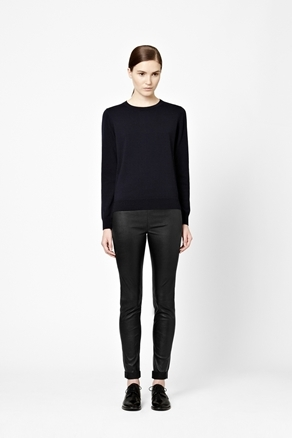 Wool Jumper - style: standard; hip detail: fitted at hip; predominant colour: navy; occasions: casual, work; length: standard; fibres: wool - 100%; fit: standard fit; neckline: crew; sleeve length: long sleeve; sleeve style: standard; texture group: knits/crochet; pattern type: knitted - fine stitch; season: a/w 2012