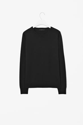 Wool Jumper - style: standard; predominant colour: black; occasions: casual, work; length: standard; fibres: wool - 100%; fit: standard fit; neckline: crew; sleeve length: long sleeve; sleeve style: standard; texture group: knits/crochet; pattern type: knitted - fine stitch; season: a/w 2012