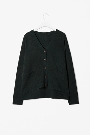 Melange Wool Cardigan - neckline: low v-neck; predominant colour: dark green; occasions: casual, work; length: standard; fibres: wool - mix; fit: loose; style: square cut; waist detail: front pockets at waist level; back detail: longer hem at back than at front; sleeve length: long sleeve; sleeve style: standard; texture group: knits/crochet; pattern type: knitted - fine stitch; season: a/w 2012