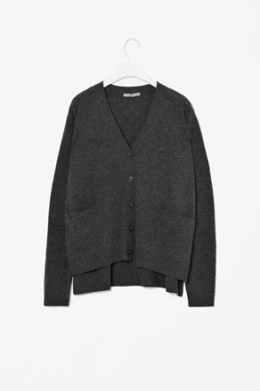 Melange Wool Cardigan - neckline: low v-neck; predominant colour: charcoal; occasions: casual, work; length: standard; fibres: wool - 100%; fit: loose; style: square cut; waist detail: front pockets at waist level; back detail: longer hem at back than at front; sleeve length: long sleeve; sleeve style: standard; texture group: knits/crochet; pattern type: knitted - other; season: a/w 2012