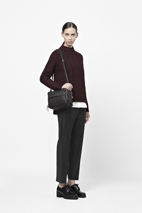 Cable Knit Jumper - neckline: high neck; style: standard; pattern: cable knit; predominant colour: aubergine; occasions: casual, work; length: standard; fibres: wool - 100%; fit: standard fit; back detail: longer hem at back than at front; sleeve length: long sleeve; sleeve style: standard; texture group: knits/crochet; pattern type: knitted - other; pattern size: light/subtle; season: a/w 2012