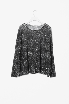 Printed Knit Top - neckline: round neck; predominant colour: black; occasions: casual, work; length: standard; style: top; fibres: polyester/polyamide - 100%; fit: loose; sleeve length: long sleeve; sleeve style: standard; trends: modern geometrics; pattern type: fabric; pattern size: standard; pattern: patterned/print; texture group: jersey - stretchy/drapey; season: a/w 2012