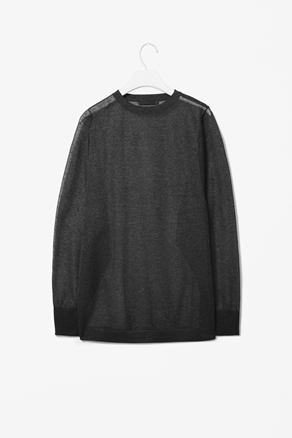 Metallic Knit Top - neckline: round neck; pattern: plain; predominant colour: charcoal; occasions: casual, work; length: standard; style: top; fibres: polyester/polyamide - 100%; fit: loose; sleeve length: long sleeve; sleeve style: standard; texture group: knits/crochet; pattern type: knitted - fine stitch; pattern size: standard; season: a/w 2012