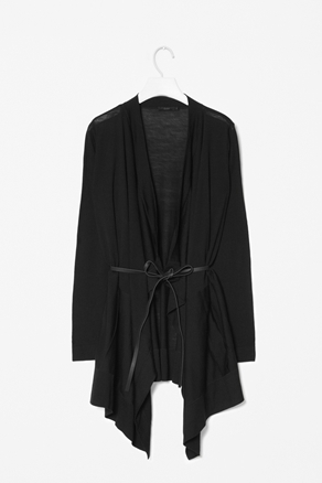 Belted Drape Cardigan - pattern: plain; length: below the bottom; neckline: collarless open; style: open front; predominant colour: black; occasions: casual, work; fibres: wool - 100%; fit: loose; hip detail: dip hem; waist detail: belted waist/tie at waist/drawstring; sleeve length: long sleeve; sleeve style: standard; texture group: knits/crochet; pattern type: knitted - fine stitch; season: a/w 2012
