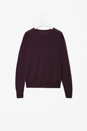 Silk And Wool Knit Top - neckline: round neck; pattern: plain; shoulder detail: contrast pattern/fabric at shoulder; predominant colour: aubergine; occasions: casual, work; length: standard; style: top; fibres: wool - mix; fit: loose; sleeve length: long sleeve; sleeve style: standard; texture group: knits/crochet; pattern type: knitted - other; season: a/w 2012