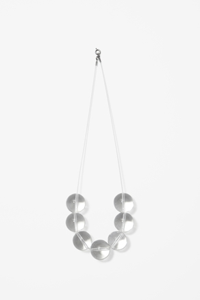 Glass Bead Necklace - predominant colour: white; occasions: casual, evening, work; length: long; size: large/oversized; material: plastic/rubber; finish: plain; embellishment: beading; season: a/w 2012; style: bead