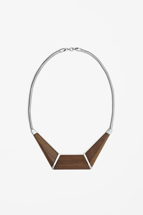 Wood Pendant Necklace - predominant colour: chocolate brown; occasions: casual, evening, work; length: mid; size: large/oversized; material: chain/metal; finish: plain; style: bib/statement; season: a/w 2012