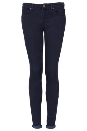 Moto Indigo Leigh Jeans - style: skinny leg; length: standard; pattern: plain; pocket detail: traditional 5 pocket; waist: mid/regular rise; predominant colour: navy; occasions: casual; fibres: cotton - mix; jeans detail: dark wash; jeans & bottoms detail: turn ups; texture group: denim; pattern type: fabric; season: a/w 2012