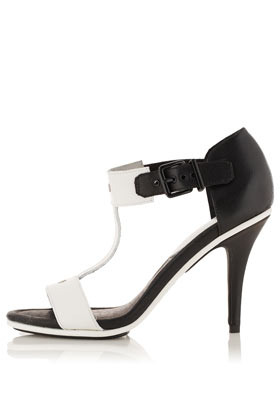 Ready Side Buckle Sandals - secondary colour: white; predominant colour: black; material: leather; heel height: high; ankle detail: ankle strap; heel: stiletto; toe: open toe/peeptoe; style: standard; finish: plain; pattern: colourblock; occasions: creative work; season: a/w 2012
