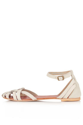 Happy Closed Strippy Sandals - predominant colour: ivory/cream; occasions: casual; material: leather; heel height: flat; embellishment: buckles; ankle detail: ankle strap; heel: standard; toe: open toe/peeptoe; style: strappy; finish: plain; pattern: plain; season: a/w 2012