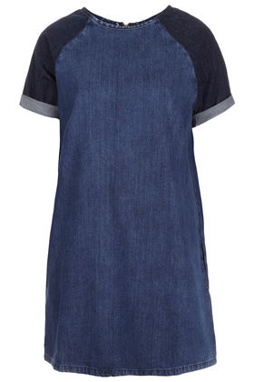 Tall Contrast Sleeve Dress - style: t-shirt; neckline: round neck; sleeve style: raglan; pattern: plain; shoulder detail: contrast pattern/fabric at shoulder; predominant colour: denim; occasions: casual; length: just above the knee; fit: straight cut; fibres: cotton - 100%; sleeve length: short sleeve; texture group: denim; pattern type: fabric; season: a/w 2012