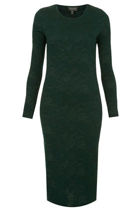 Jacquard Midi Bodycon Dress - length: calf length; fit: tight; pattern: plain; style: bodycon; hip detail: draws attention to hips; predominant colour: dark green; occasions: casual, evening; fibres: polyester/polyamide - mix; neckline: crew; sleeve length: long sleeve; sleeve style: standard; texture group: jersey - clingy; pattern type: fabric; season: a/w 2012