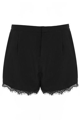Black Lace Trim Shorts - waist: mid/regular rise; predominant colour: black; occasions: casual, evening; fibres: polyester/polyamide - 100%; hip detail: front pleats at hip level; texture group: lace; pattern type: fabric; pattern: patterned/print; season: a/w 2012; pattern size: standard (bottom); style: shorts; length: short shorts; fit: slim leg