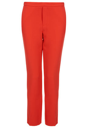 Crepe Cigarette Trousers - length: standard; pattern: plain; pocket detail: small back pockets, pockets at the sides; waist: mid/regular rise; predominant colour: bright orange; occasions: casual, evening, work; fibres: polyester/polyamide - 100%; waist detail: feature waist detail; texture group: crepes; fit: slim leg; pattern type: fabric; style: standard; season: a/w 2012; pattern size: standard (bottom)