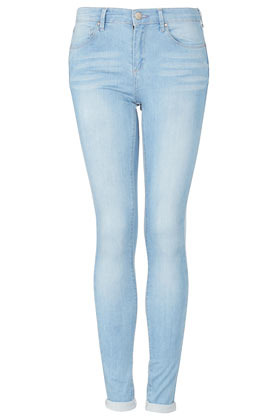 Moto Bleach Leigh Jeans - style: skinny leg; length: standard; pattern: plain; pocket detail: traditional 5 pocket; waist: mid/regular rise; predominant colour: pale blue; occasions: casual; fibres: cotton - mix; jeans detail: whiskering, washed/faded; jeans & bottoms detail: turn ups; texture group: denim; pattern type: fabric; season: a/w 2012