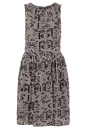 Tall Ikat Print Flippy Dress - style: shift; neckline: round neck; fit: fitted at waist; sleeve style: sleeveless; waist detail: fitted waist; predominant colour: black; occasions: casual, evening; length: just above the knee; fibres: polyester/polyamide - 100%; hip detail: ruching/gathering at hip; sleeve length: sleeveless; texture group: crepes; pattern type: fabric; pattern size: standard; pattern: patterned/print; season: a/w 2012