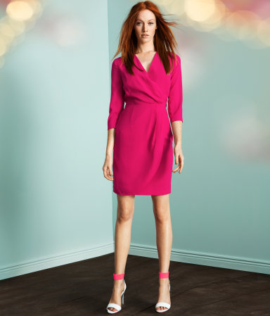 Dress - style: faux wrap/wrap; neckline: v-neck; pattern: plain; waist detail: fitted waist; bust detail: ruching/gathering/draping/layers/pintuck pleats at bust; predominant colour: hot pink; occasions: casual, evening; length: just above the knee; fit: body skimming; fibres: polyester/polyamide - 100%; sleeve length: 3/4 length; sleeve style: standard; texture group: crepes; pattern type: fabric; season: a/w 2012