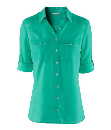 Blouse - neckline: shirt collar/peter pan/zip with opening; pattern: plain; style: blouse; predominant colour: emerald green; occasions: casual, work; length: standard; fibres: polyester/polyamide - 100%; fit: loose; sleeve length: 3/4 length; sleeve style: standard; texture group: crepes; pattern type: fabric; season: a/w 2012