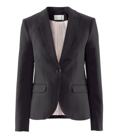 Jacket - pattern: plain; style: single breasted blazer; collar: standard lapel/rever collar; predominant colour: black; occasions: casual, evening, work; length: standard; fit: tailored/fitted; fibres: cotton - mix; waist detail: fitted waist; sleeve length: long sleeve; sleeve style: standard; collar break: low/open; pattern type: fabric; pattern size: standard; texture group: other - light to midweight; season: a/w 2012; hip detail: front pockets at hip