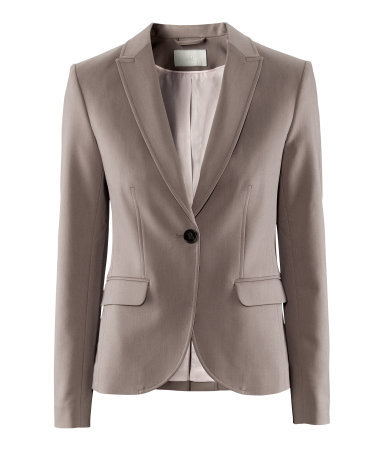 Jacket - pattern: plain; style: single breasted blazer; collar: standard lapel/rever collar; predominant colour: taupe; occasions: casual, work; length: standard; fit: tailored/fitted; fibres: polyester/polyamide - mix; waist detail: fitted waist; sleeve length: long sleeve; sleeve style: standard; collar break: medium; pattern type: fabric; texture group: other - light to midweight; season: a/w 2012; hip detail: front pockets at hip