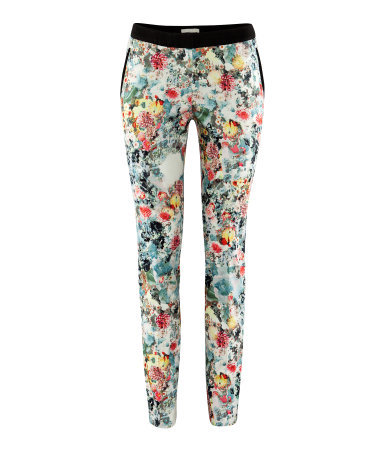 Trousers - length: standard; pocket detail: small back pockets, pockets at the sides; waist: mid/regular rise; occasions: casual, evening, work, occasion; fibres: cotton - stretch; waist detail: narrow waistband; predominant colour: multicoloured; trends: high impact florals; fit: slim leg; pattern type: fabric; pattern: florals; texture group: other - light to midweight; style: standard; season: a/w 2012; pattern size: standard (bottom); multicoloured: multicoloured