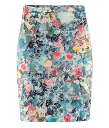 Pencil Skirt - style: pencil; fit: tailored/fitted; waist detail: fitted waist, narrow waistband; waist: high rise; hip detail: fitted at hip; occasions: casual, evening, work, occasion; length: just above the knee; fibres: polyester/polyamide - mix; predominant colour: multicoloured; trends: high impact florals, statement prints; pattern type: fabric; pattern: florals, patterned/print; texture group: other - light to midweight; season: a/w 2012; pattern size: standard (bottom); multicoloured: multicoloured