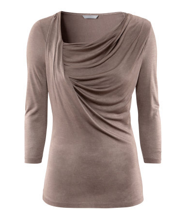 Top - neckline: cowl/draped neck; pattern: plain; predominant colour: taupe; occasions: casual, evening, work; length: standard; style: top; fibres: polyester/polyamide - 100%; fit: body skimming; sleeve length: 3/4 length; sleeve style: standard; pattern type: fabric; texture group: jersey - stretchy/drapey; season: a/w 2012; wardrobe: basic
