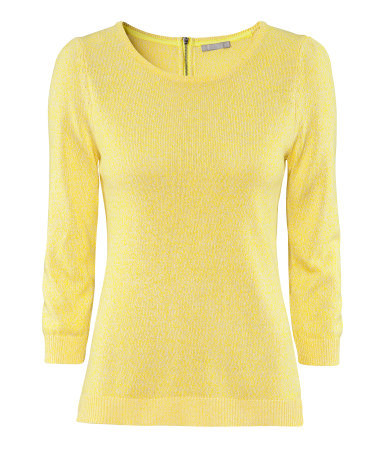 Jumper - neckline: round neck; pattern: plain; style: standard; predominant colour: primrose yellow; occasions: casual, work; length: standard; fibres: cotton - mix; fit: standard fit; sleeve length: 3/4 length; sleeve style: standard; texture group: knits/crochet; pattern type: fabric; pattern size: standard; season: a/w 2012