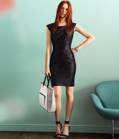 Dress - style: shift; length: mid thigh; neckline: round neck; sleeve style: capped; pattern: plain; waist detail: fitted waist; hip detail: fitted at hip; predominant colour: black; occasions: evening, occasion; fit: body skimming; fibres: leather - 100%; sleeve length: sleeveless; texture group: leather; pattern type: fabric; season: a/w 2012
