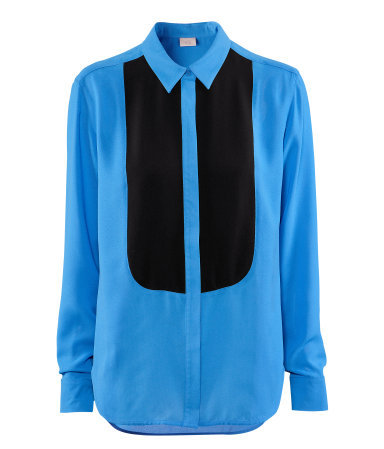 Shirt - neckline: shirt collar/peter pan/zip with opening; pattern: plain; style: shirt; predominant colour: royal blue; occasions: evening, work; length: standard; fibres: polyester/polyamide - 100%; fit: straight cut; bust detail: contrast pattern/fabric/detail at bust; sleeve length: long sleeve; sleeve style: standard; texture group: crepes; pattern type: fabric; season: a/w 2012