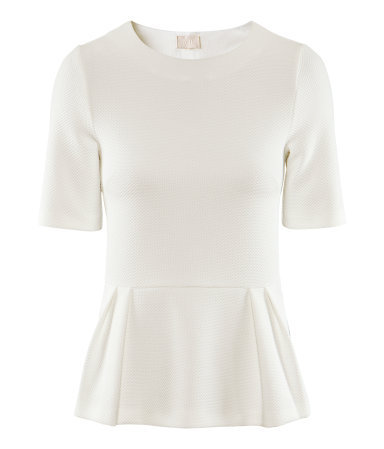Top - neckline: round neck; pattern: plain; waist detail: fitted waist, peplum waist detail; predominant colour: ivory/cream; occasions: casual, evening, work; length: standard; style: top; fibres: polyester/polyamide - stretch; fit: body skimming; sleeve length: short sleeve; sleeve style: standard; pattern type: fabric; pattern size: standard; texture group: other - light to midweight; season: a/w 2012